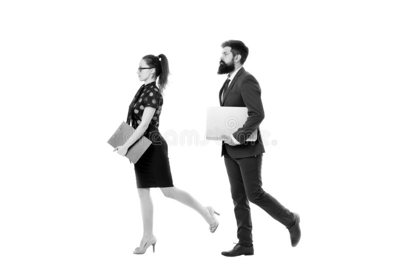 Follow same direction. Businessman bearded face and lady with documents folder. New business direction. Looking for. Opportunities and new chances. Man formal stock photo