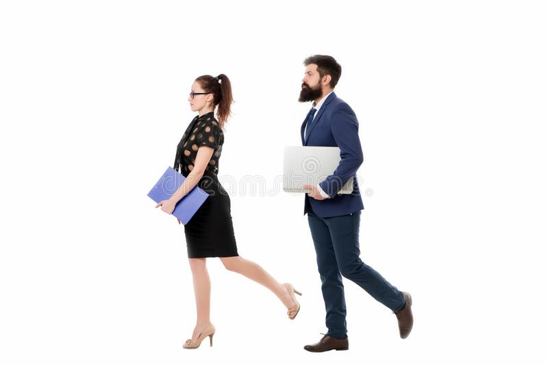 Follow same direction. Businessman bearded face and lady with documents folder. New business direction. Looking for. Opportunities and new chances. Man formal royalty free stock images