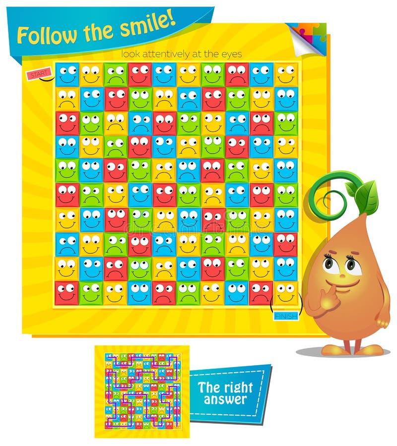 Follow the smile. Visual Game for children. Task: Follow the smile stock illustration