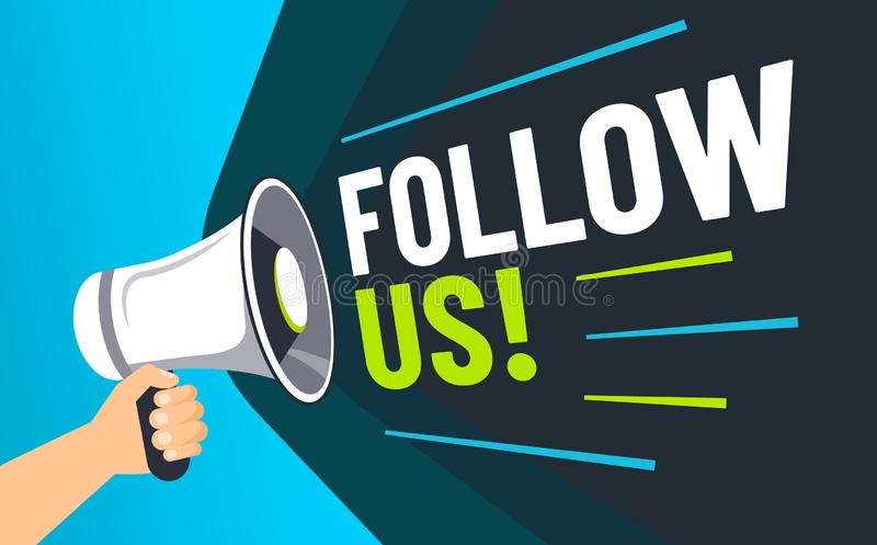 Follow us. Inviting followers, loudspeaker in hand invite follower and advertising social media marketing post vector vector illustration