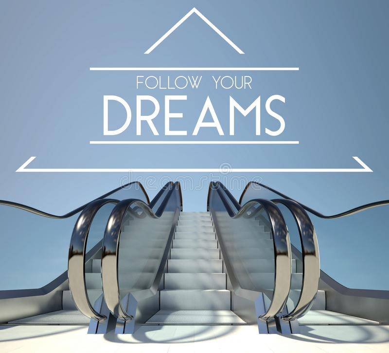 Follow your dreams concept with stairs vector illustration