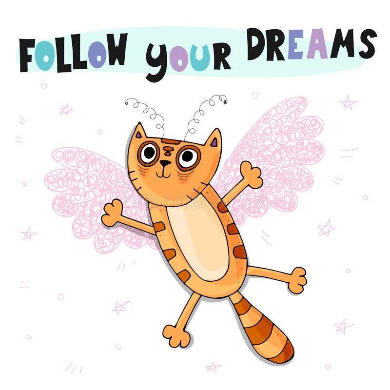 Follow your dreams. Cute cartoon childish vector illustration with a red cat with pink wings, decorative elements and lettering. stock illustration