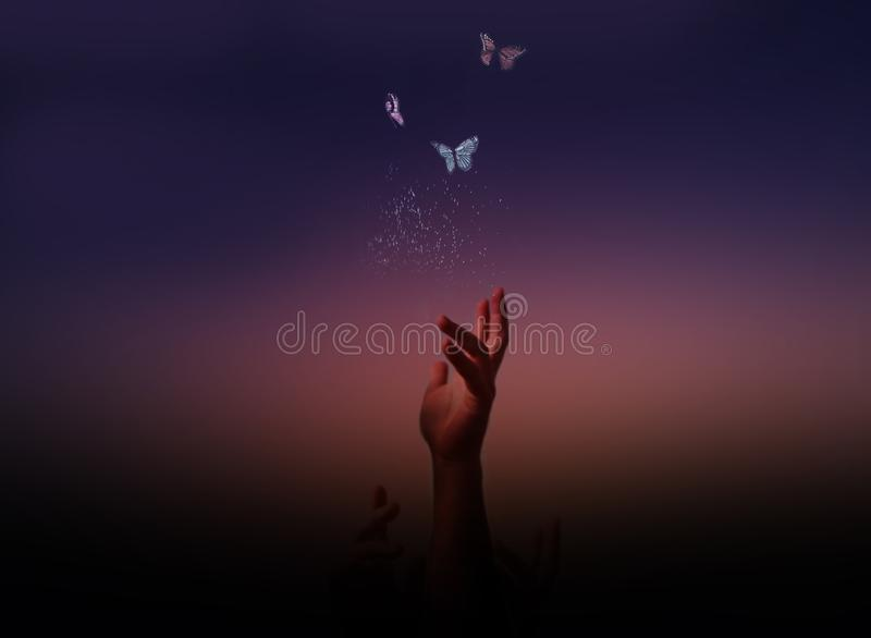 Follow your dreams and freedom concept. Metaphorical ethereal background stock photo