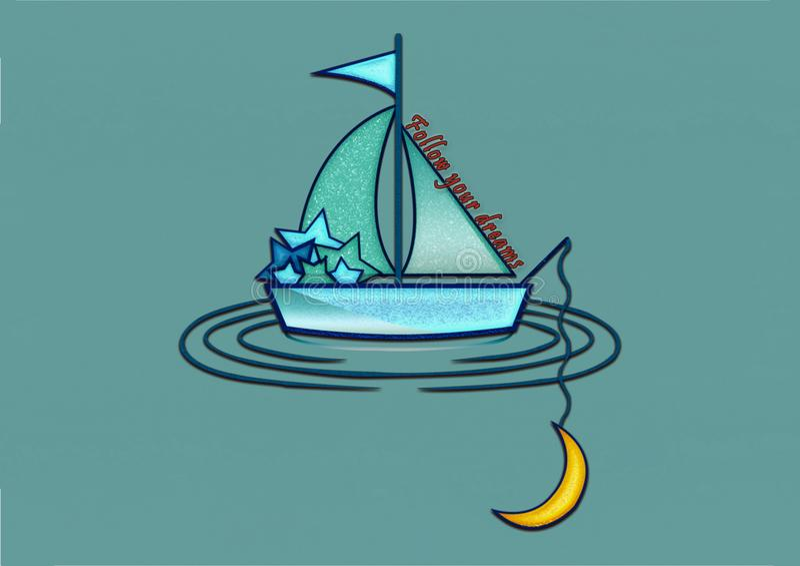 Follow your dreams illustration logo royalty free illustration