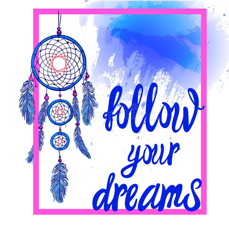 FOLLOW YOUR DREAMS words with dream catcher with paint splash backdrop. VECTOR. Pink and bue colors. FOLLOW YOUR DREAMS words with hand drawn dream catcher with stock illustration