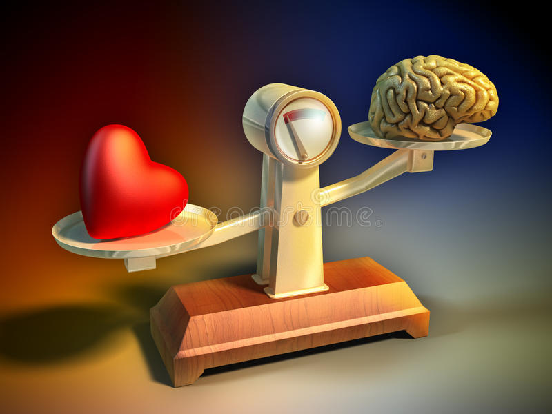 Follow your heart. Heart and brain on a balance scale. Digital illustration royalty free illustration