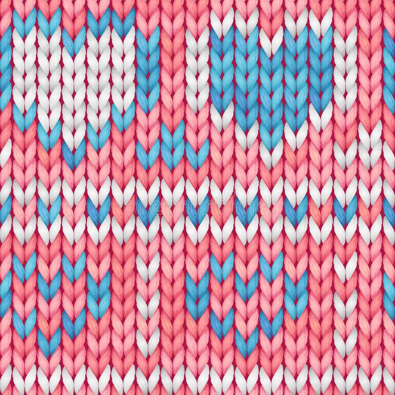 Pink and blue seamless knitted pattern with hearts. Woolen cloth. Knitted Pattern in scandinavian style for greeting card, banner,. Backgrounds. Vector royalty free illustration
