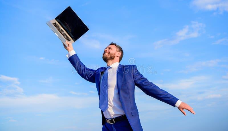 Follow your interests. Businessman formal suit follow laptop. He has a dream. Businessman inspired entrepreneur feels stock photo