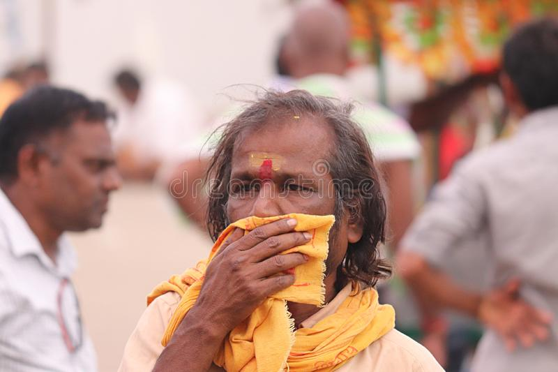 Follower of Lord Hanuman on the streets of Bhadrachalam, India, Telangana State. Holi celebration stock photography