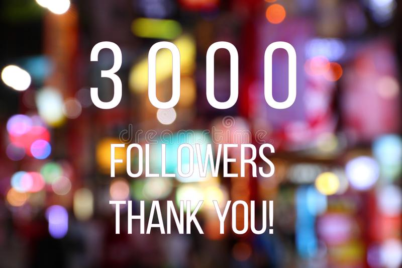 3000 followers. Banner - social media success sign. Online community thank you note. 3k likes royalty free stock photography