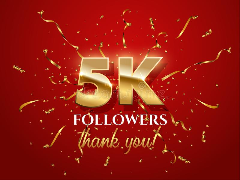 5000 Followers Celebration Red Vector Banner with Text Stock Vector -  Illustration of banner, glitter: 146186510