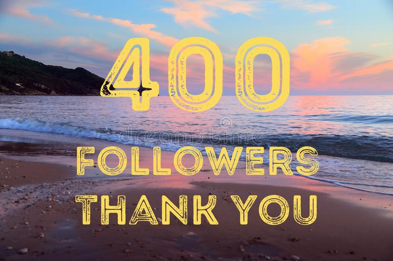400 followers. Social media milestone banner. Online community thank you note. 400 likes royalty free stock images