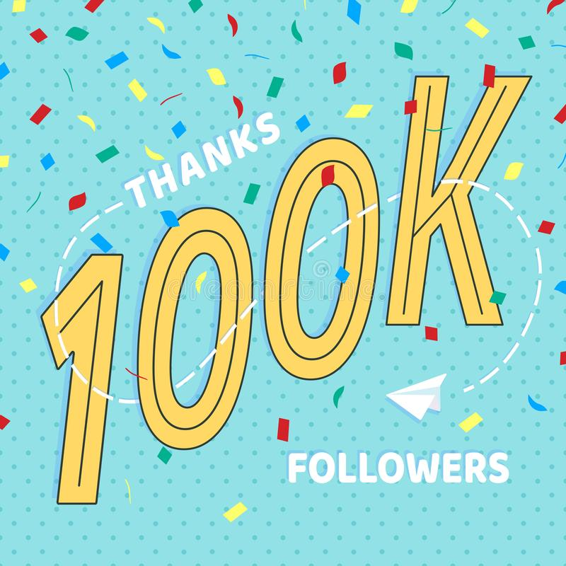 Thank you 100000 followers numbers postcard. royalty free illustration
