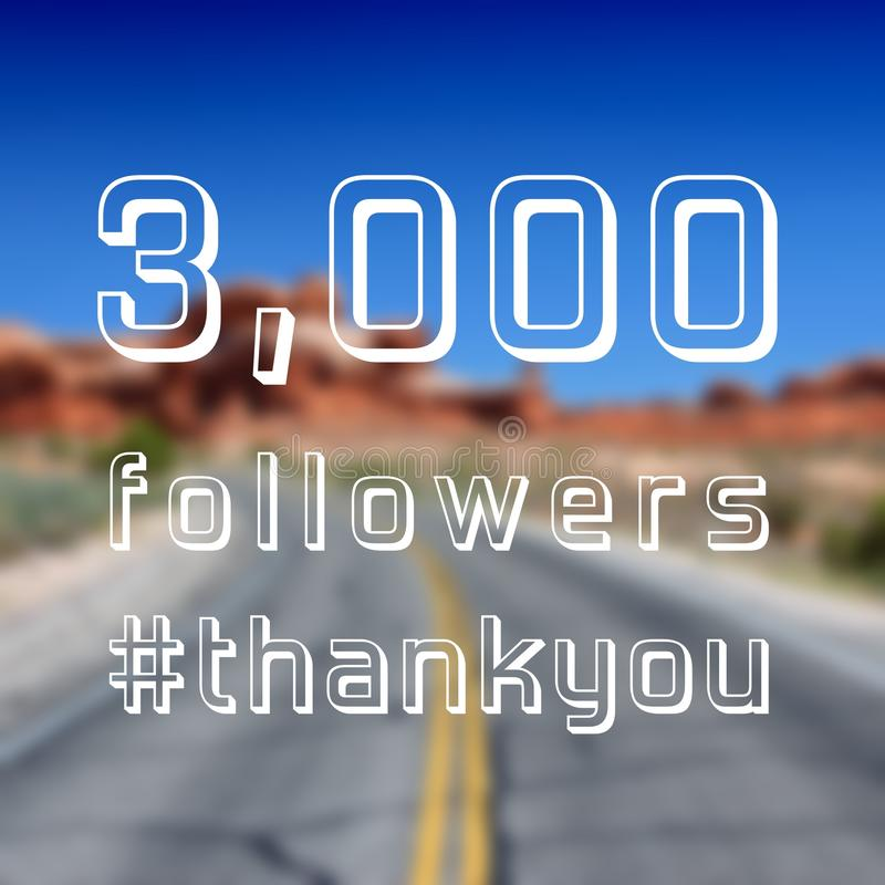 3000 followers. Sign - social media milestone thank you banner. Online community note. 3k likes royalty free stock image