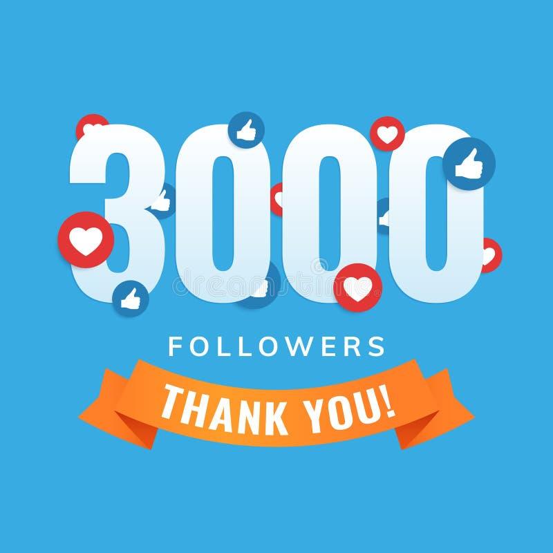 3000 followers, social sites post, greeting card. Vector illustration royalty free illustration