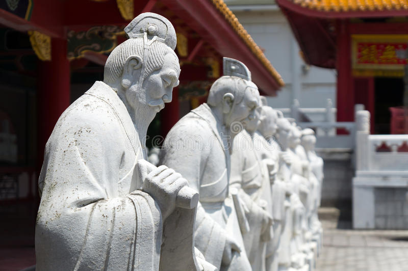 72 followers statues of Confucian Temple. In Nagasaki, Japan. Confucian temple is a temple devoted to the memory of Confucius. Japanese one is the worlds only stock photo