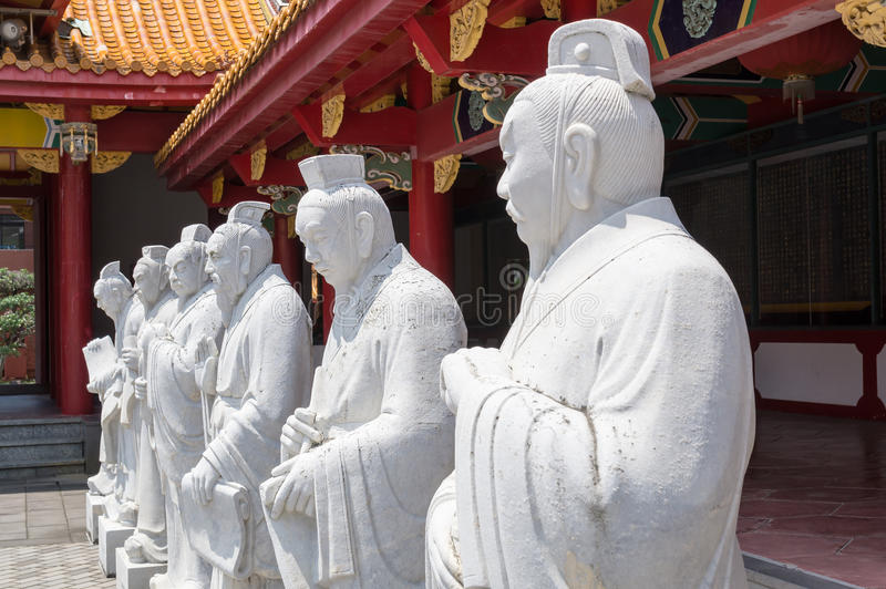 72 followers statues of Confucian Temple. In Nagasaki, Japan. Confucian temple is a temple devoted to the memory of Confucius. Japanese one is the worlds only royalty free stock photo