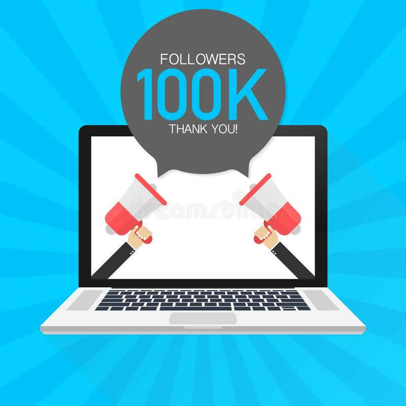 100000 Followers thank you card with laptop Template for social media post. 100K subscribers vivid banner. Vector illustration. royalty free illustration
