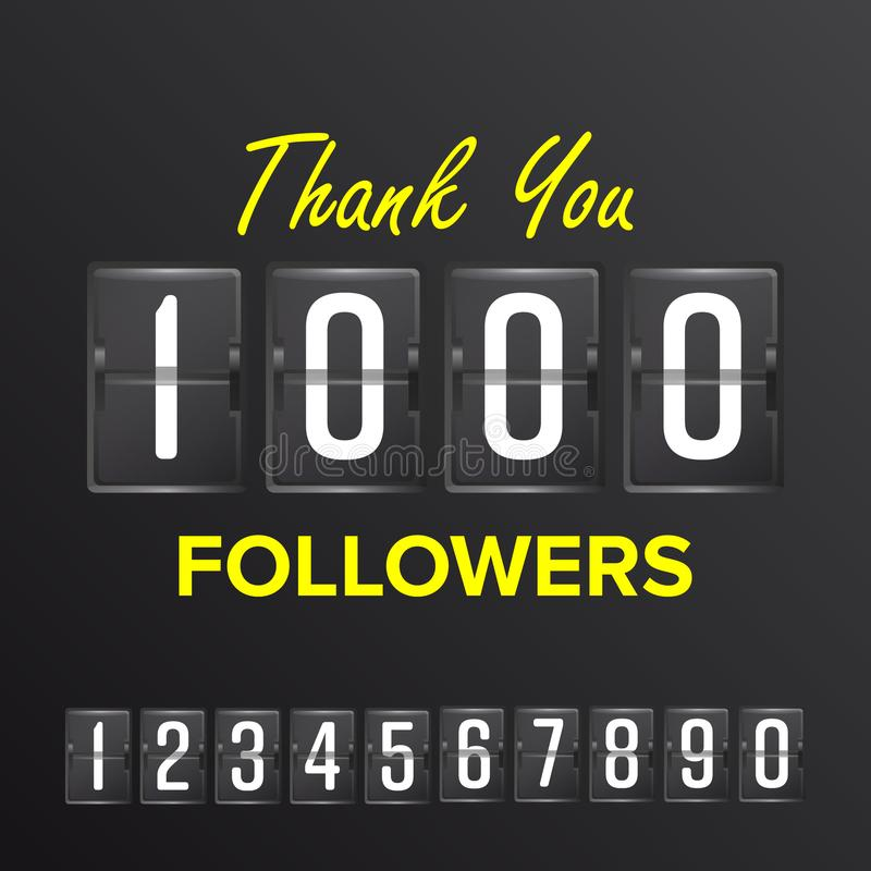 1000 Followers Vector. Thanks Design Template. Social Network Concept. Illustration vector illustration