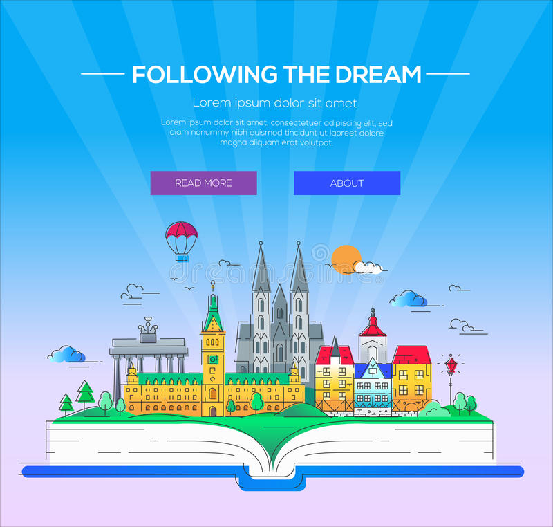 Following the dream - vector line travel illustration. Following the dream - modern vector line travel illustration. Discover Netherlands and Germany. Have a royalty free illustration
