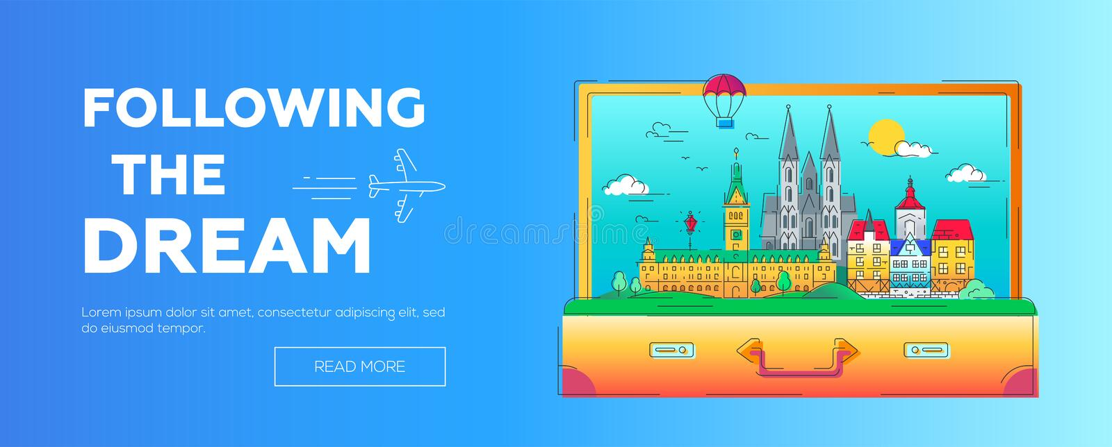 Following the Dream - vector line travel web page header illustration. Following the Dream - modern vector line travel web page header illustration. Discover royalty free illustration