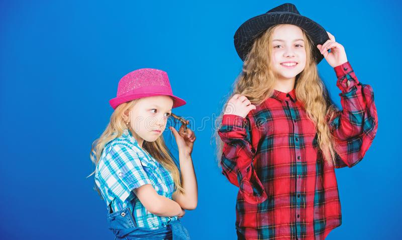 Following sister in everything. Cool cutie fashionable outfit. Happy childhood. Kids fashion concept. Check out our. Fashion style. Fashion trend. Girls kids royalty free stock images