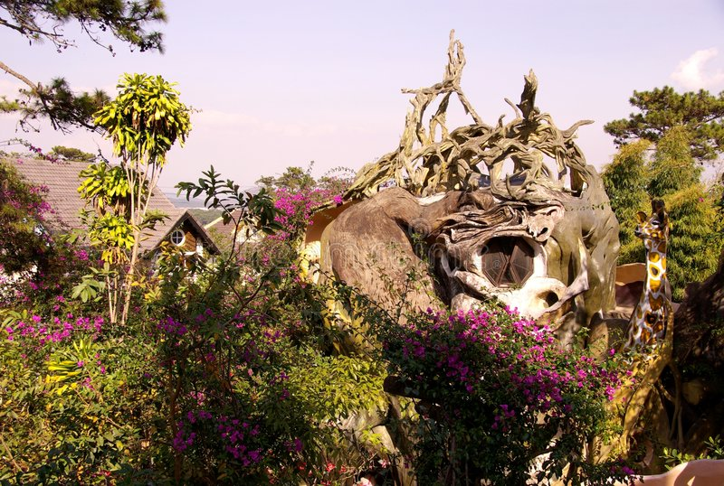 Folly. The crazy house, a folly in Dalat in Vietnam royalty free stock images