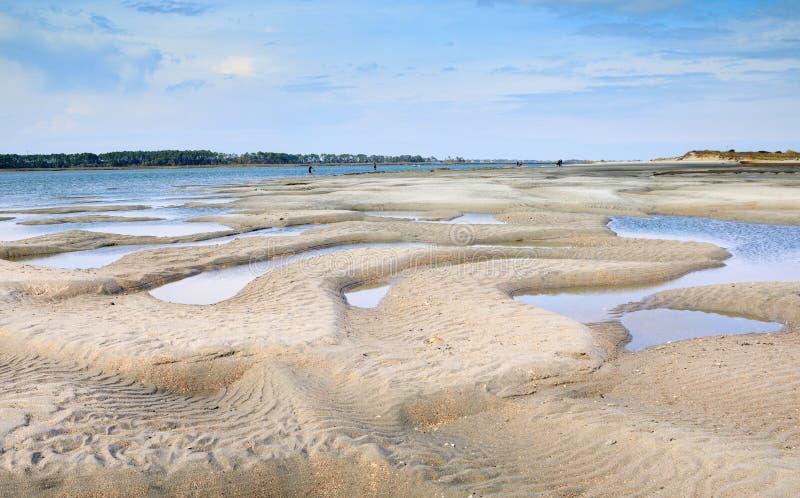 Folly Beach with Tidal Pools Charleston South Carolina royalty free stock photo