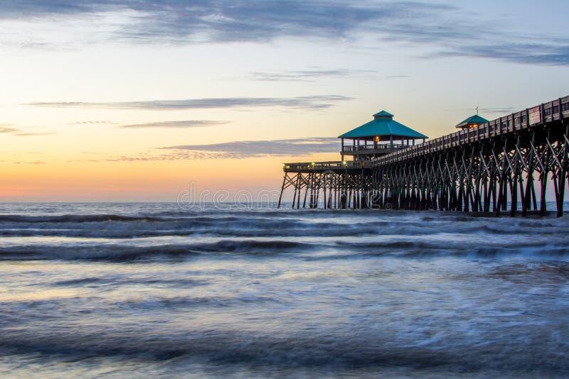 Folly Beach on Folly Beach Island Charleston, South Carolina During Sunrise.  royalty free stock photo