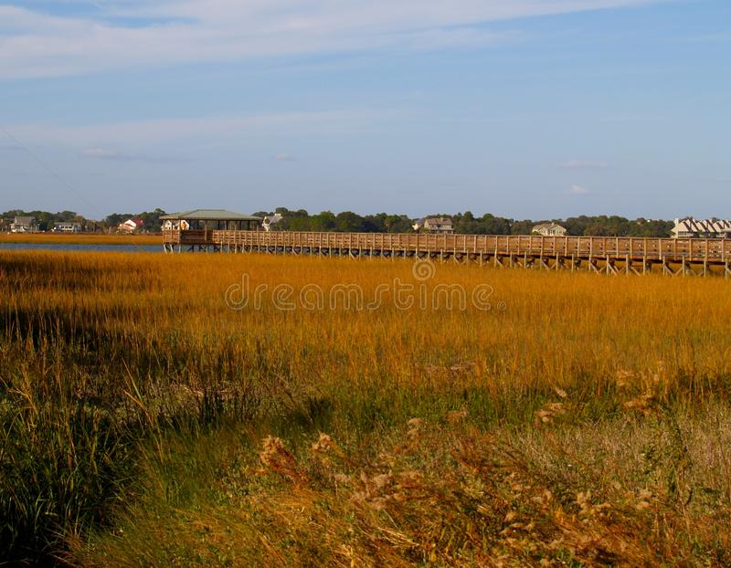 Folly Beach marsh pier. A pier stretching over the salt water marshes of Folly Beach, South Carolina stock photography