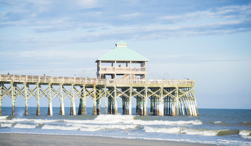 Folly Beach Pier. Image of famous pier located at Folly Beach in Charleston, South Carolina stock images