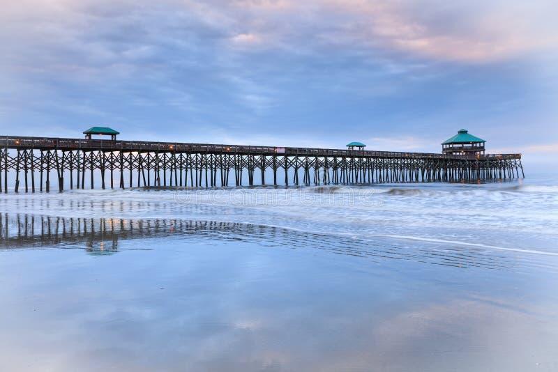 Folly Beach Fishing Pier Charleston SC South Carolina royalty free stock photos