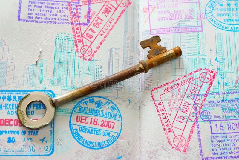 folował kluczowych paszportowych znaczki zdjęcia royalty free