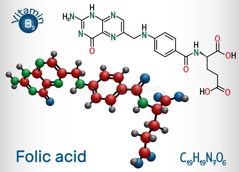 Folsyra folate molekyl Det är bekant som vitaminet B9 Strukturell kemisk formel- och molekylmodell stock illustrationer