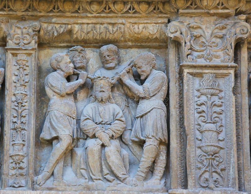 Folterung von Jesus am Heiligen Thomas Church von Haro, Rioja stockfotos