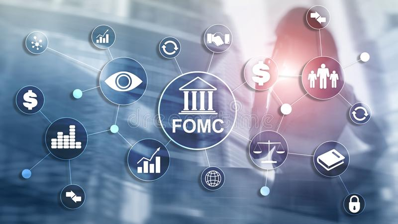 FOMC Federal Open Market Committee Government regulation Finance monitoring organisation. FOMC Federal Open Market Committee Government regulation Finance royalty free stock image