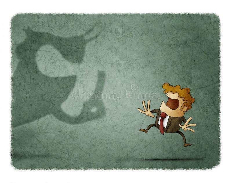 A fome assustado do negócio olha uma sombra grande essa gritos nele ilustração stock