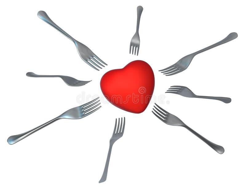 Fome do coração ilustração stock