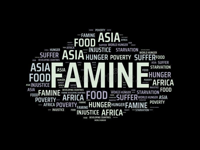 FOME - imagem com as palavras associadas com a FOME do assunto, nuvem da palavra, cubo, letra, imagem, ilustração ilustração stock