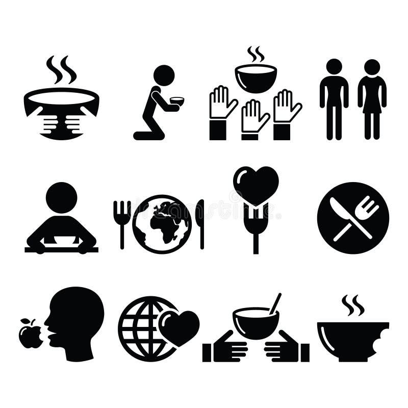 Fome, inanição, ícones da pobreza ajustados ilustração royalty free
