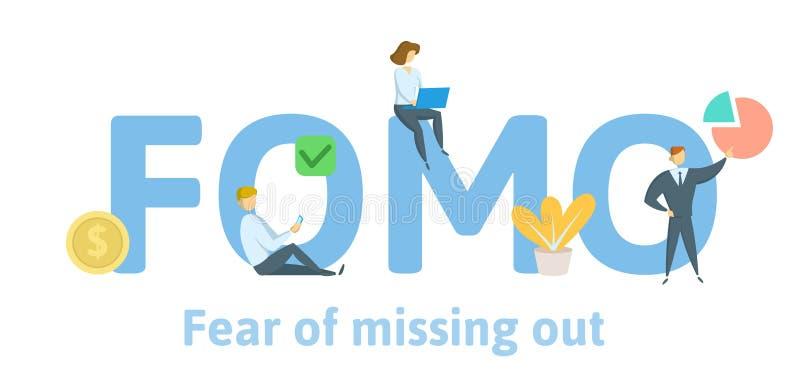 FOMO-skräck av att missa ut Begrepp med nyckelord, bokstäver och symboler Plan vektorillustration Isolerat på vit stock illustrationer