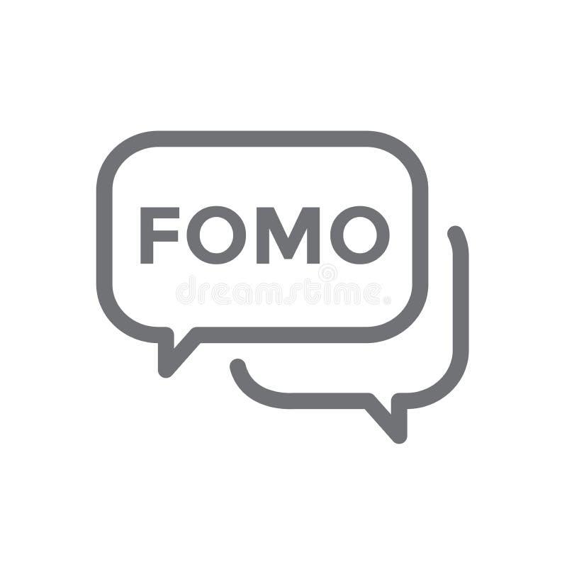 FOMO-symbol - skräck av att missa ut moderiktig modern akronym - samkväm M vektor illustrationer