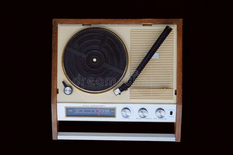 Fonógrafo de rádio Bandeja da plataforma giratória, braço de tom, seletor de rádio do AM, botões, interruptores imagem de stock royalty free