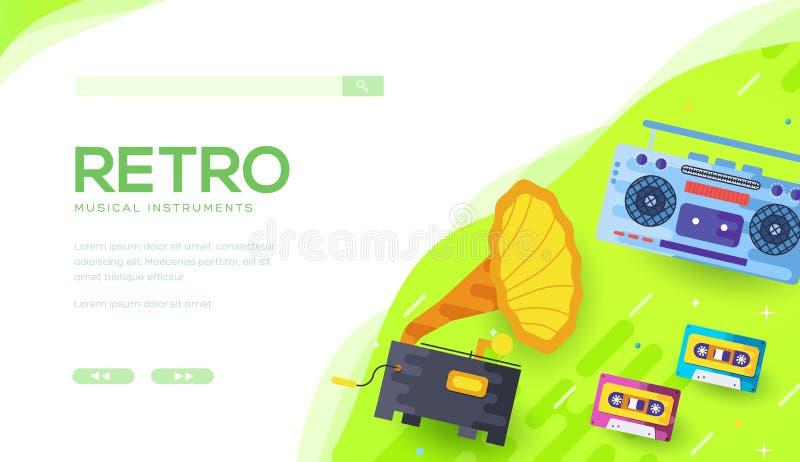 Fonógrafo, grabadora, casetes audios en verde stock de ilustración