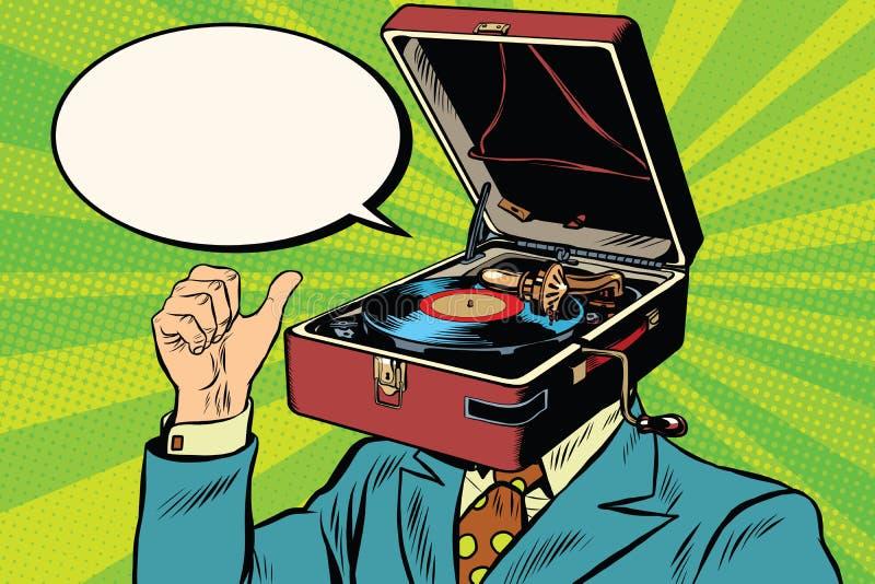Fonógrafo retro del gramófono del hombre de la música del amante stock de ilustración