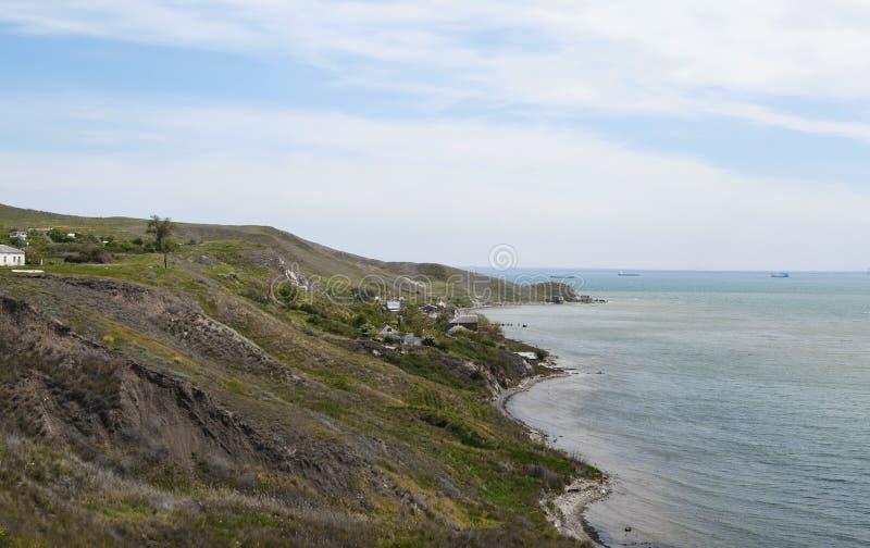 Fonar cape on border of Azov sea and Kerch strait, Crimea stock photos