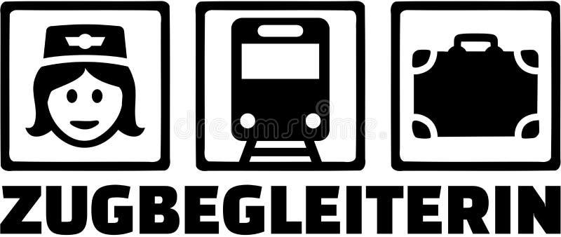 Fonction allemande de préposé de train avec des icônes illustration stock