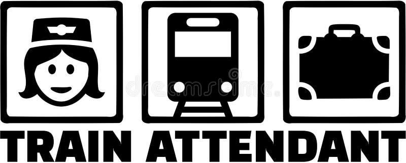 Fonction de préposé de train avec des icônes illustration de vecteur