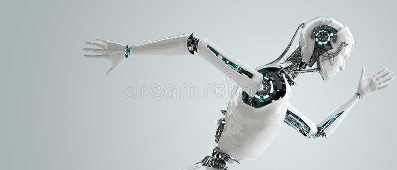 Fonctionnement androïde d'hommes de robot illustration de vecteur