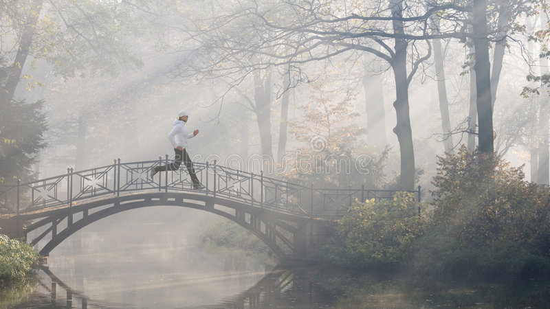 fonctionnement brumeux de matin photographie stock libre de droits